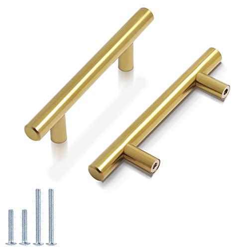 Probrico (5 Pack) 3 Hole Centers Brushed Brass Cabinet Pulls Euro Bar Cabinet Hardware Kitchen Bathroom Cabinet Modern T Bar Dresser Pull Gold Drawer Handles, 5 Inch Overall Length