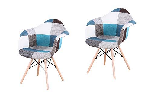 2er Set Leinen-Stoff Patchwork Sessel für den Empfangsbereich der Lounge Wohnzimmer mit Rückenlehne und natürlichem Buchenholz im skandinavischen Stil