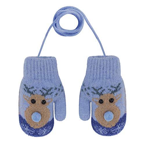 YSXY Niedliche Kinder Baby Fäustlinge Winter Warme Gestrickte Handschuhe mit Band Gefüttert Fausthandschuhe Strickhandschuhe für 2-6 Jahre Kleinkind Jungen Mädchen (Hirsch-Blau)