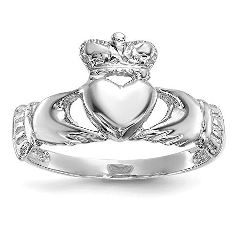 14k White Gold Irish Claddagh Celtic Knot Band Ring Size 7.00 Fine Jewellery For Women Gifts For Her