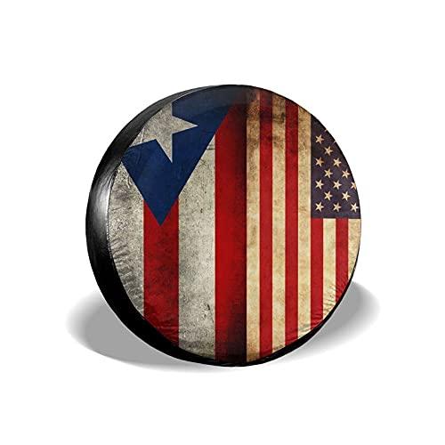 Tcerlcir Cubierta Universal de Ruedas de Repuesto Funda Protectora Bandera de Puerto Rico Estados Unidos Impermeable para Remolques, Casas Rodantes, SUV y Otros 14'/15'/16'/17'
