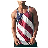 Fourth of July Tank Top for Men Summer Graphic American Flag Beach Sleeveless Workout Running Independence Day Vest Top Red