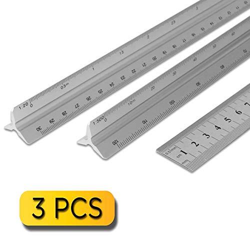 Dreikantmaßstab Scale Ruler Maßstab Lineal 3 Stücke Silber Schwarz 30 cm Metall Aluminium Engineer Metrisch 1: 100, 1: 200, 1: 250, 1: 300, 1: 400, 1: 500/1: 20, 1:25, 1:50, 1:75, 1: 100, 1: 150