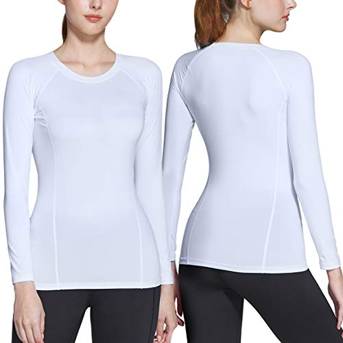ATHLIO Women's Sports Compression Shirt, Cool Dry Fit Long Sleeve Workout Tops, Athletic Exercise Gym Yoga Shirts, 2pack(bfd21) - White/White, Small