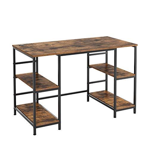 Homfa Schreibtisch Computertisch mit 4 Ablagen PC-Tisch Bürotisch Gaming Tisch Arbeitstisch Holz Metall für Büro Office Gaming im Industrie-Design Vintage Schwarz Groß 120x60x76.5cm