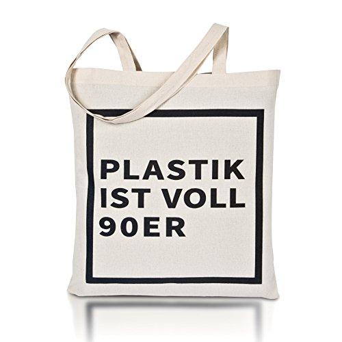 Avoidwaste Jutebeutel Bedruckt - Nachhaltige Einkaufstasche mit Aufdruck und Langen Griffen (Plastik ist voll 90er)