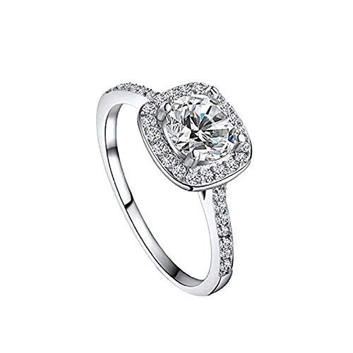 WSSVAN Anillo de la oferta del rayo, anillo salvaje de la moda anillo del diamante del corazón de las mujeres y flecha Zircon anillo boda compromiso diamante anillo joyería regalo (Plata, 8)
