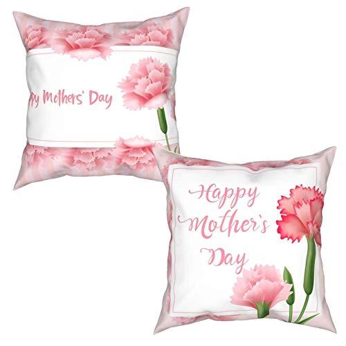 Juego de 2 fundas de almohada para el día de la madre, 45 x 45 cm, diseño de flores de clavel, color rosa