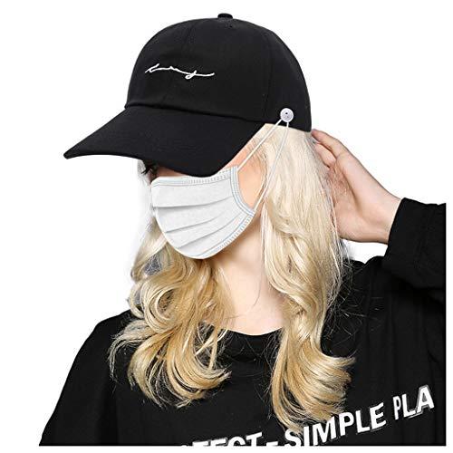 huichang Unisex Baseball Cap, Kappe ohne Verschluss Knöpfe an den Seiten - Verhindern Sie DASS der Schleier abrutscht - Ohrenschmerzen lindern - für Herren, Damen und Kinder (Schwarz)