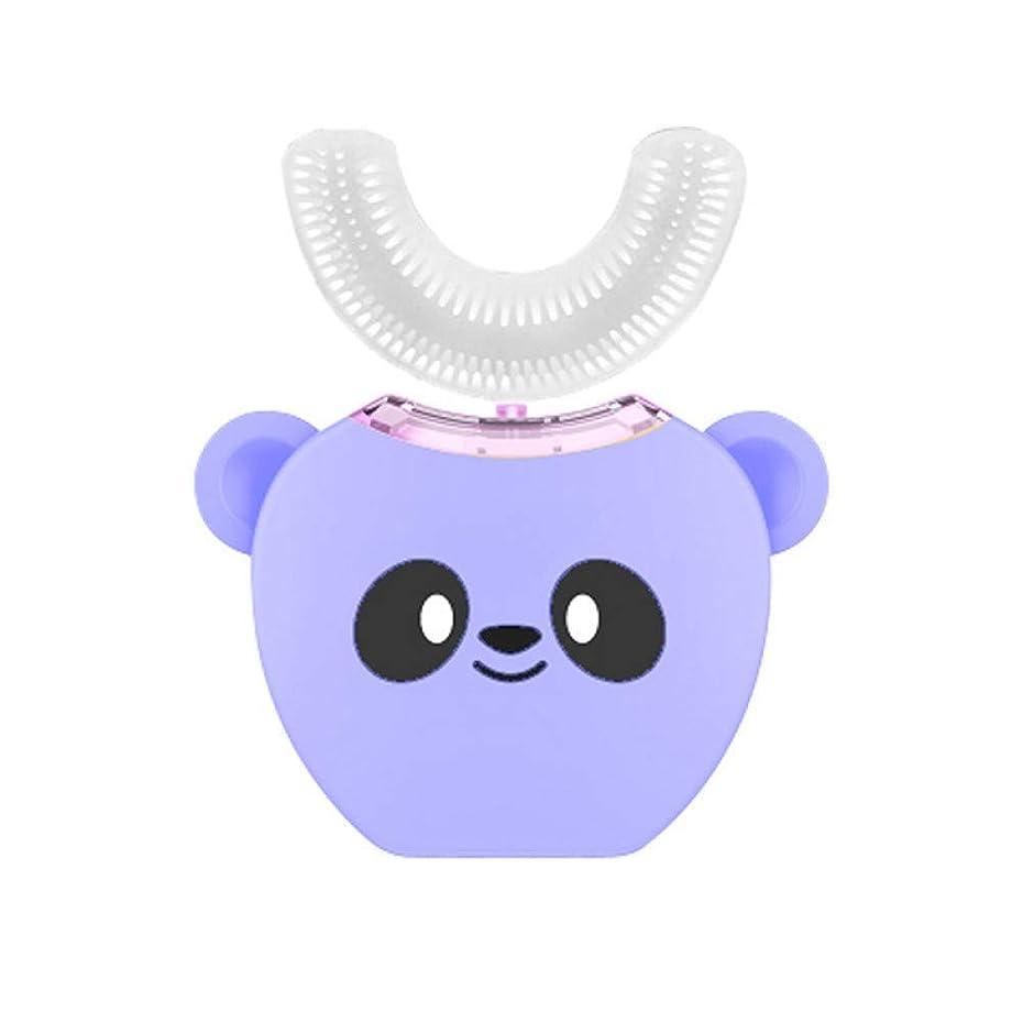 複製する効率的求めるスマートな360度の子供の子供の超音波送話口のブラシ、紫??色のための音楽が付いている自動音波の歯ブラシUの形の頭部