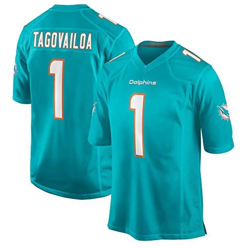 American Football Trikot Tua Tagovailoa || Miami Dolphins # 1 Rugby Trikot || Jugend Rugby Kleidung Weste Trikot, Sport Trikot Kurzarm Sport Top T-Shirt-green-2XL