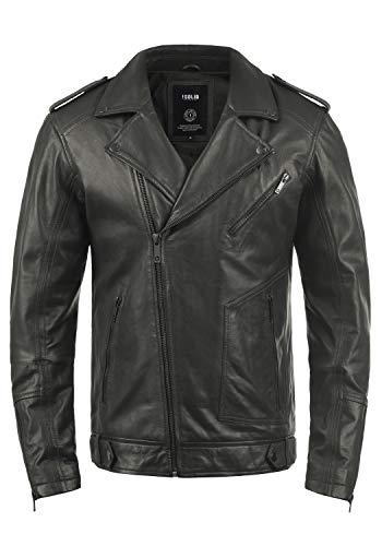 !Solid Mamash Herren Lederjacke Bikerjacke Mit Bikerkragen Aus 100% Schafsleder, Größe:XXL, Farbe:Steel Grey (2810)