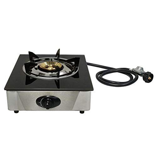 Best Deals! Richman789 Propane Gas Single Stove 1 Burner Tempered Glass Top Burner Auto Ignition 12 X 14 inches Deluxe High Flame