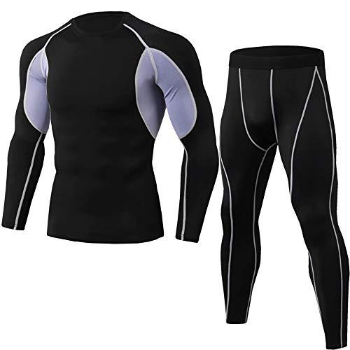Sports Suit Men Sauna Sweat Shirt Top,コンプレッションウェア メンズ 上下セット トレーニングウェア 2点 通気防臭 スポーツウェア ランニングウェア パーカー 長袖シャツ ズボン 吸汗速乾