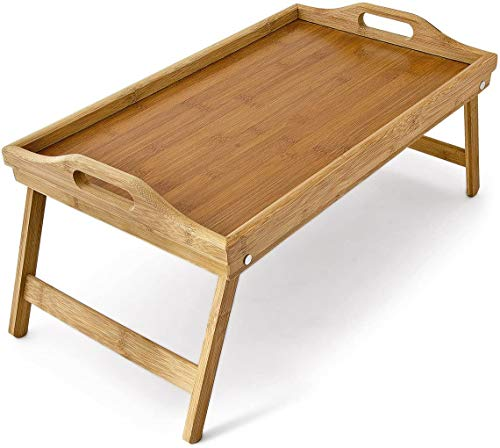 Natural Bamboo Lightweight Wooden Bed Serving Tray Table with Handles and Folding Legs - for Sofa and Bed