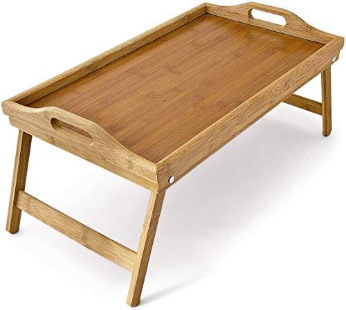 TIENDA EURASIA Mesa de Desayuno con Patas Plegables - Bandeja para Cama de Bambú Natural - 50 x 30 x 24 cm