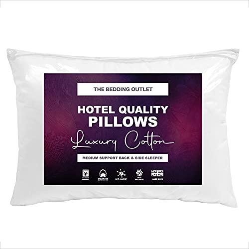 The Bedding Outlet - Almohadas de cama de lujo 100% algodón egipcio antialérgico, calidad de hotel, color blanco (paquete de 4)