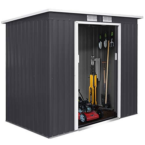 FIXKIT Gerätehaus, Metall Schuppen mit Schiebetür und Fundament | 4 Kubikmeter | Perfekte Lagerung von Rasenmähern ,Liegestühlen und Fahrradzubehör usw