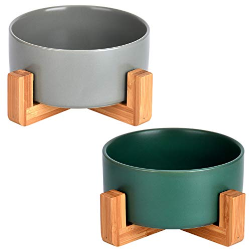 Queta 2*Keramik Katzennäpf Keramik Hunde Futternapf mit Bambus Halter Keramik Fressnapf Wassernapf Keramik Futternäpfe für Katze und Hunde (grün +grau)