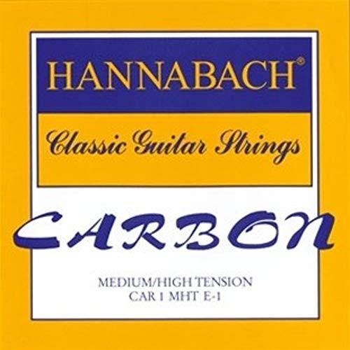 Hannabach Cuerdas Para Guitarra Clasica Carbono Tension Media Alta - Juego Cuerdas Agudas Mi1+Si2+Sol3