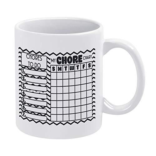 Chore Chart 2 Black-01 Taza de café regalo para hombres y mujeres amigas cumpleaños 15 oz taza de cerámica blanca con cita