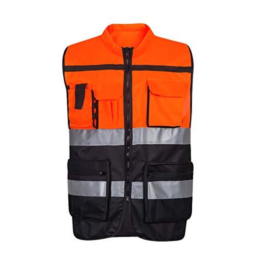 DBL Warnweste Leichte und atmungsaktive Arbeitskleidung Sicherheit bei Nacht Reflektierende Warnweste Sicherheitswesten (Color : Orange, Size : L)