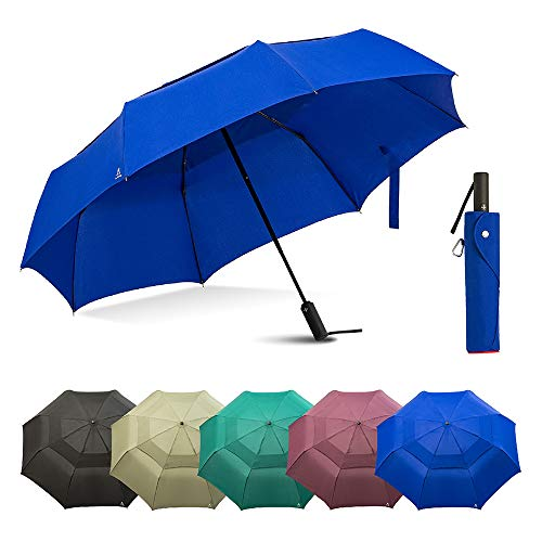 Large Windproof Umbrella Folds Into Portable Travel Size - 54 Inch Double Vented Canopy Big Enough To Fit In 2 Adults - Auto Open Close (Blue)