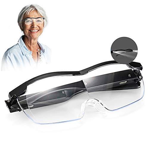 Aooeou Lupenbrille mit Licht als Lesehilfe und Sehhilfe,250% Vergrößerungsbrille mit 2 LED Lichts Hände Frei Blaulichtfilter Lupen Lese Leselupe für Brillenträger,Nähen,Reparatur,Senioren Damen Herre