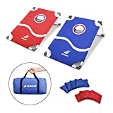 XGEAR PVC Framed Cornhole Game Set,Classic Toss Game Set,Bean Bag Toss Yard Game,Portable, with 8 Bean Bags and Travel Carrying Bag,Blue/Red,3 x 2 feet, Fun for All Ages