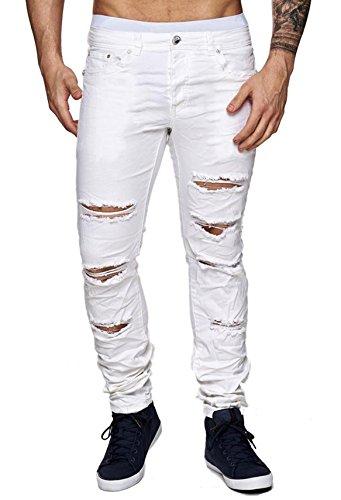ArizonaShopping Jeansnet Herren Jeans Slim Fit Destroyed Hose Used H1517, Farben:Weiß, Größe Jeans:W32