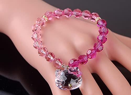 PPuujia Pulsera de cristal genuino de cristal rosa austriaco encantadores pulseras y brazaletes de gato joyería de moda para mujeres niños y niñas (longitud: adulto 17 cm, color metálico: multicolor)