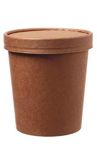 DeinPack 50 Suppenbecher to Go mit Deckel braun 480 ml 16oz I Kompostierbare Becher mit PLA Innenbeschichtung Suppen-Becher to Go Pappe I 50 Bio Einweg-Becher mit Deckel biologisch abbaubar