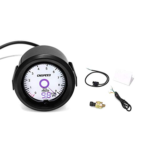 Tree-on-Life 52mm 12 V 7 Farben LCD Zeiger Auto Auto Ölpresse Manometer kPa Öldruckanzeige Mit Sensor Rennwagen Druckmesser