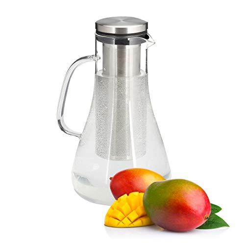 Relaxdays Carafe en verre, 1,5 l, avec couvercle, eau, jus, eau aromatisée, lavable au lave-vaisselle, transparent