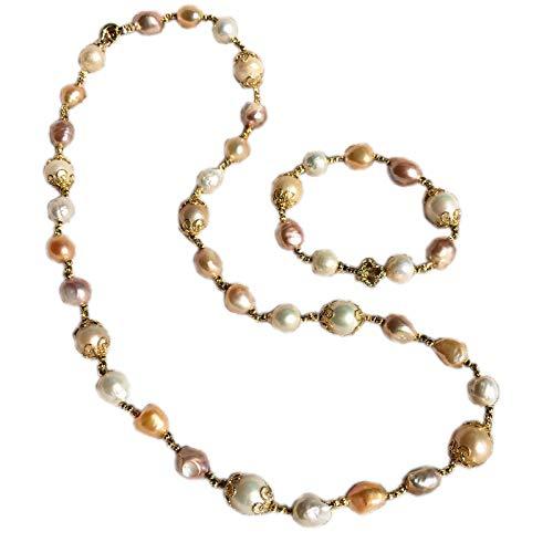 Haespsd Conjunto Original de Joyas Hechas a Mano con Perlas barrocas Naturales, Cadena de Ropa, Pulsera, Collar, Pulsera
