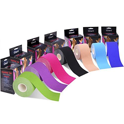 Giwil 2本入 テーピングテープ キネシオ テープ 筋肉・関節をサポート 伸縮性強い 汗に強い パフォーマンスを高める グリーン 50mm x 5.0m
