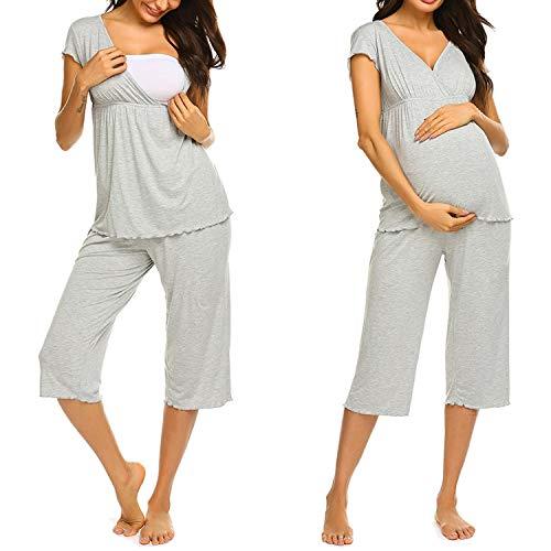 Unibelle Stillpyjama/Stillschlafanzug/Umstandspyjama/Pyjama Hellgrau M