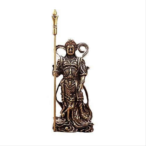 Escultura de Estatua de Buda Zen pequeños Adornos, Estatua de Buda de Cobre del Segundo Dios Lang Taoísmo Yang Lang Jun Dios puso un Cuchillo de Dos filos de Tres Puntas Estatua de Hombre de Cobre Re
