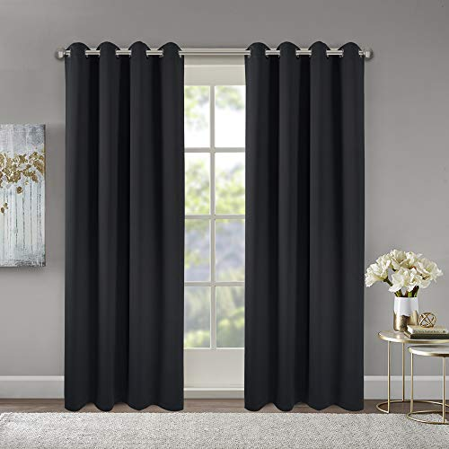 5284inch Blackout Curtains Light Block Solid Gromet Top Energy Efficient Thermal Insulate Blackout Curtain Panels for Home 52 by 84 Inch Black 2 Pieces