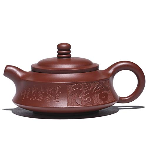 MDYHJDHYQ Teteras Tetera Yixing Original Mina Dahongpao Tetera Zhoupan 150 ml Hecho a Mano Vintage Retro Tetera Oriental única (Color : Big Red Pouch)