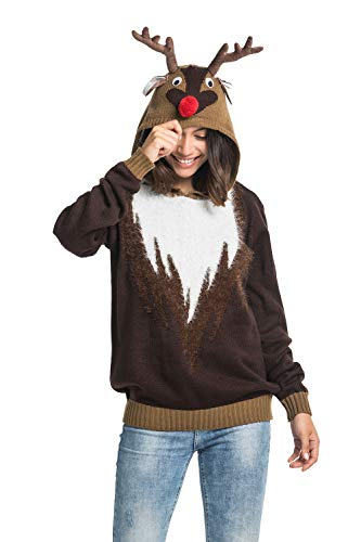 Unisex Women's Christmas Ugly Sweater Novelty Reindeer Hoodie Funny Knit Fur Santa Pullover - Real Reindeer Wear Fur, Small