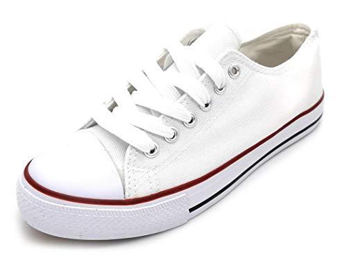 Zapatillas Lona Mujer, Blanco Negro Rojo Zapatillas Lona Puntera Goma, Lonas Blancas Mujer