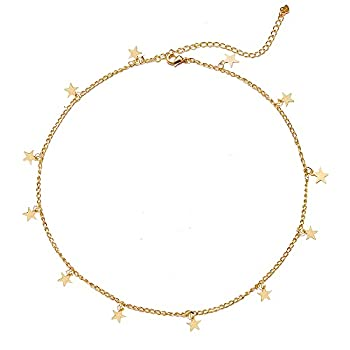 YANCHUN Star Choker Necklace Gold Star Necklace for Women Dainty Layer Necklaces for Teen Girls Gift(Gold Star)