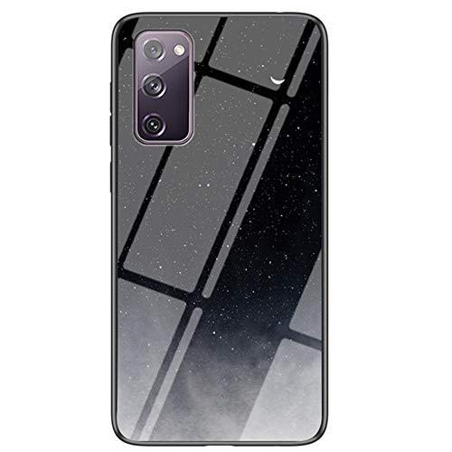 XYX Capa fina e leve com parte traseira de vidro temperado, estampa de céu estrelado, para Samsung Galaxy S20 FE