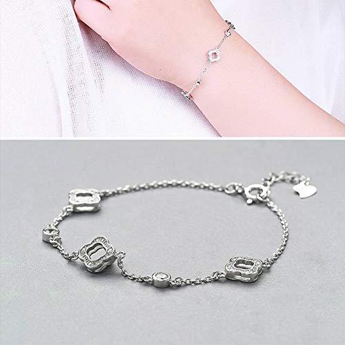 ERH Damenmode Ol Überzug Armband S925 Silber Armband Frauen Mode Joker Micro Inlay Clover Armband