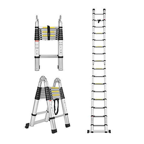 Telescopic Ladder for Loft Roof Climbing Home Use Ladder Heavy Duty Aluminum Telescopic Extension Ladder Anti-Slip Safety Locking 330lb Load Capacity 10.5FT/12.5FT/15.4FT/16.5FT