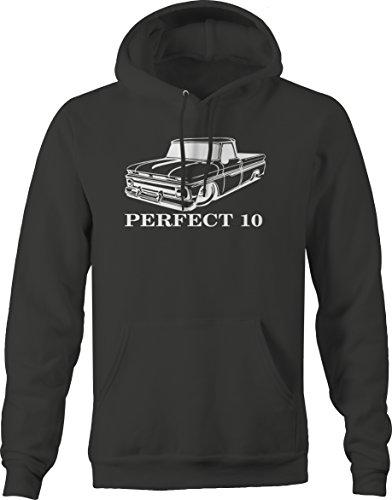 Bold Imprints Perfect 10 Chevy C10 GMC Fleetside 1960s Pickup Truck Hooded Sweatshirt, Charcoal, Large