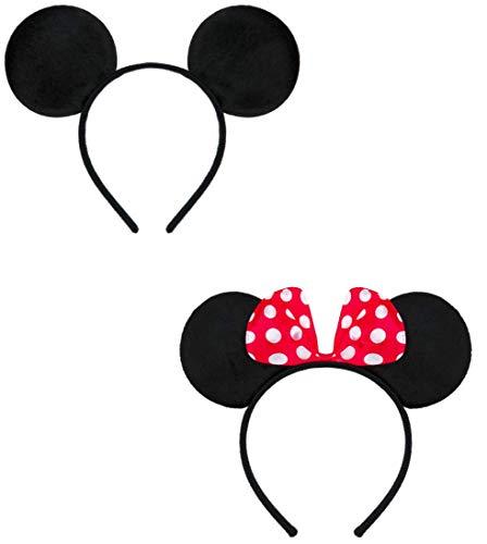 Balinco Doppelpack mit Maus Haarreifen / Maus Ohren mit roter Schleife und weißen Punkten & Maus Ohren in schwarz für Kinder & Erwachsene