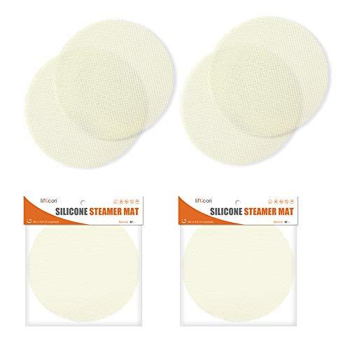 liflicon 4 alfombrillas de silicona para cestas de cocción al vapor, antiadherentes, reutilizables, diámetro de 180 mm