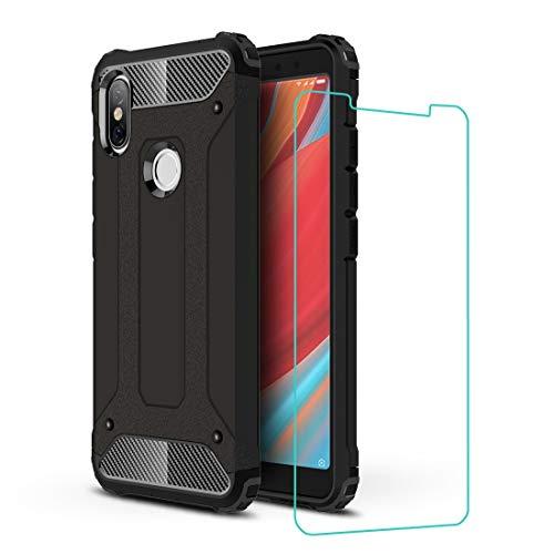 """DESCHE Funda Xiaomi Redmi S2(5.99"""") Hard PC Soft TPU 2 en 1 360 Armadura Protectora Funda Resistente a los arañazos a Prueba de Golpes Funda Duradera para teléfono+Vidrio Templado Negro"""